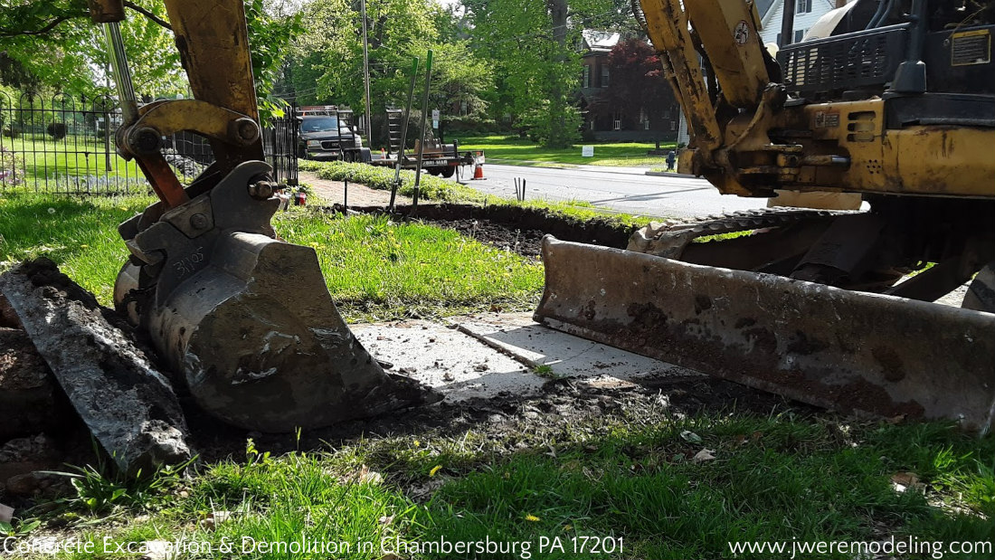 Concrete Sidewalk Excavation and Demolition in Chambersburg PA 17201