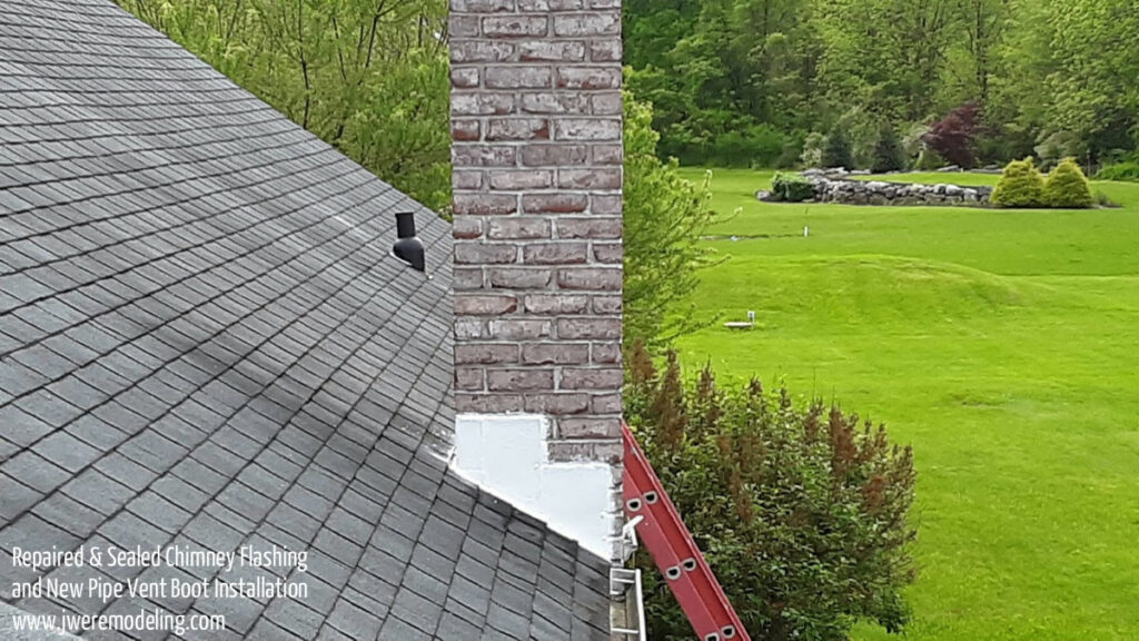 Chimney Flashing Roof Leak Repair in Carlisle PA 17015 with caulking and sealing of flashing and vent pipe