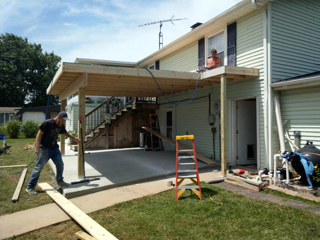 Constructing the roof of this covered patio in Dover PA 17315