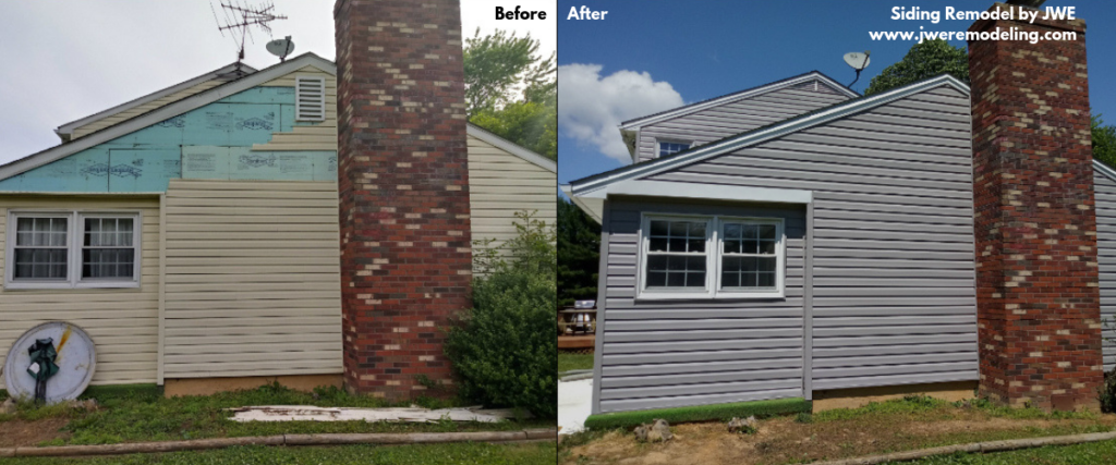 Before and After photo of vinyl siding installation by JWE remodeling in carroll county finksburg md 21048
