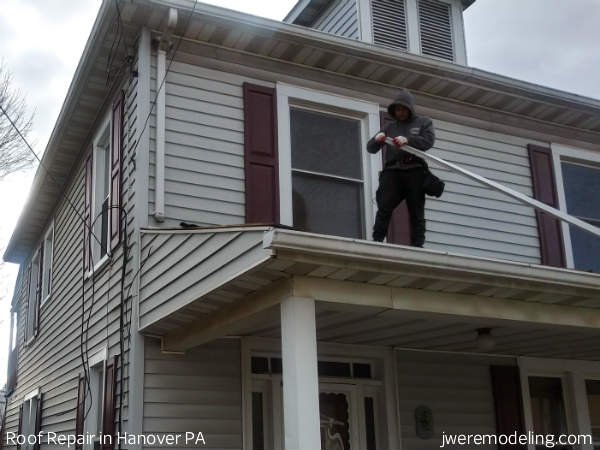 Our Hanover PA roof repair crew executing repairs to chimney flashing, drip edge, step-flashing, counter-flashing and more.