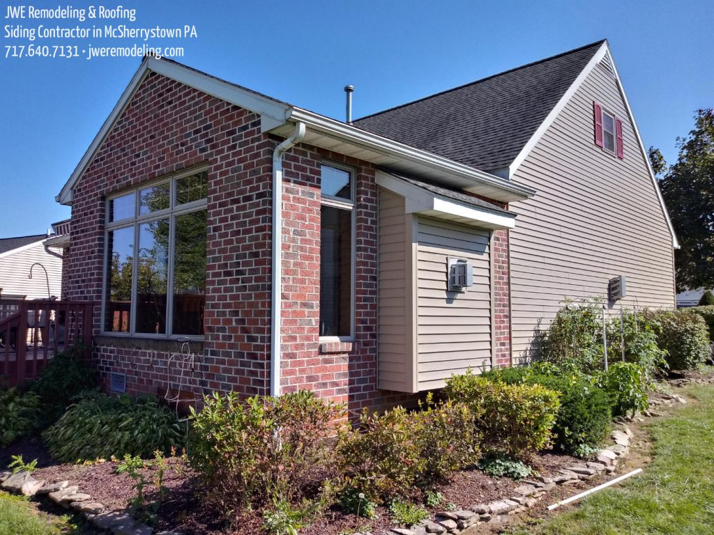 Complete exterior remodel with new siding installation, new gutters, new rake metal, fascia, custom metal trim, vinyl soffit and more in McSherrystown PA