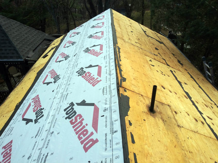Topshield roofing underlayment installation in progress at a Fairfield PA roof replacement byJWE Remodeling and Roofing Contractors