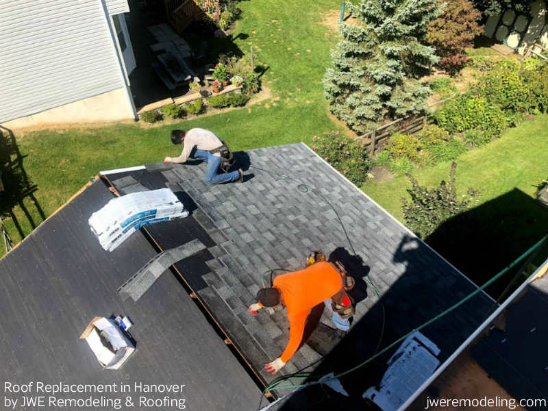 Roof Replacement being installed in Hanover PA 17331 by JWE Remodeling and Roofing Contractors