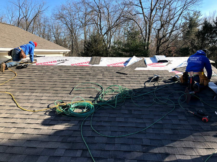 Installation of a new roof in Gettysburg with architectural asphalt shingles