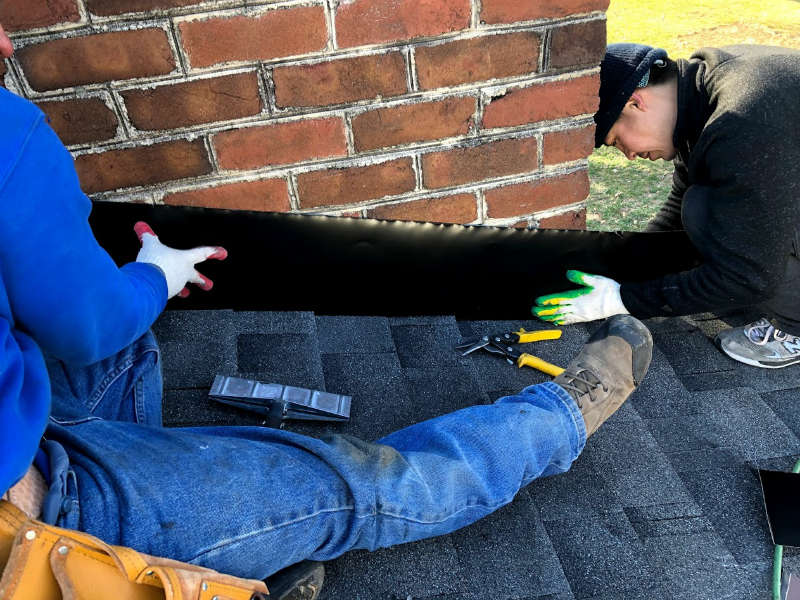Chimney flashing is an important part of this Gettysburg PA roof replacement by JWE