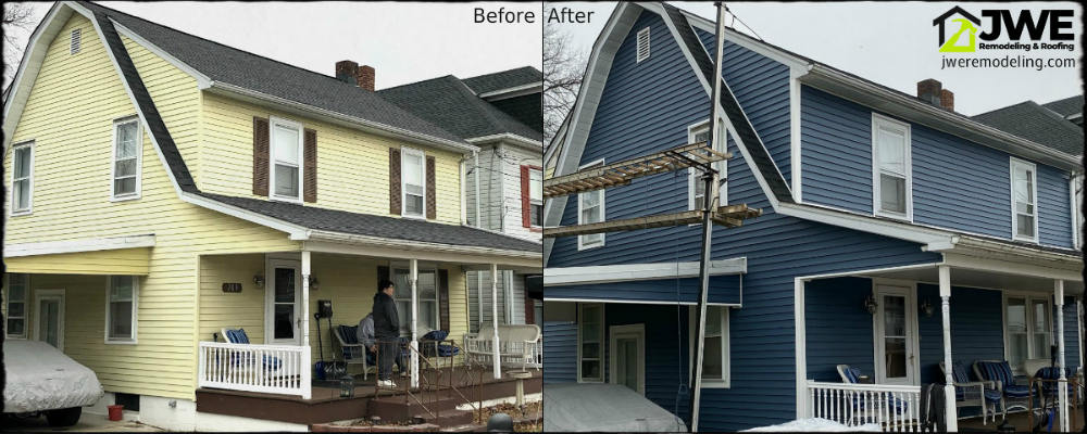 Before and after roofing replacement and siding renovation - a complete exterior remodel by JWE in Hanover PA 17331