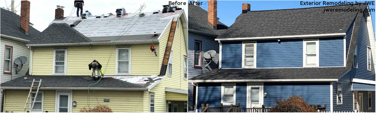 Before and After: Storm damage repairs and restorations to roofing and siding by JWE Remodeling paid for by insurance claim