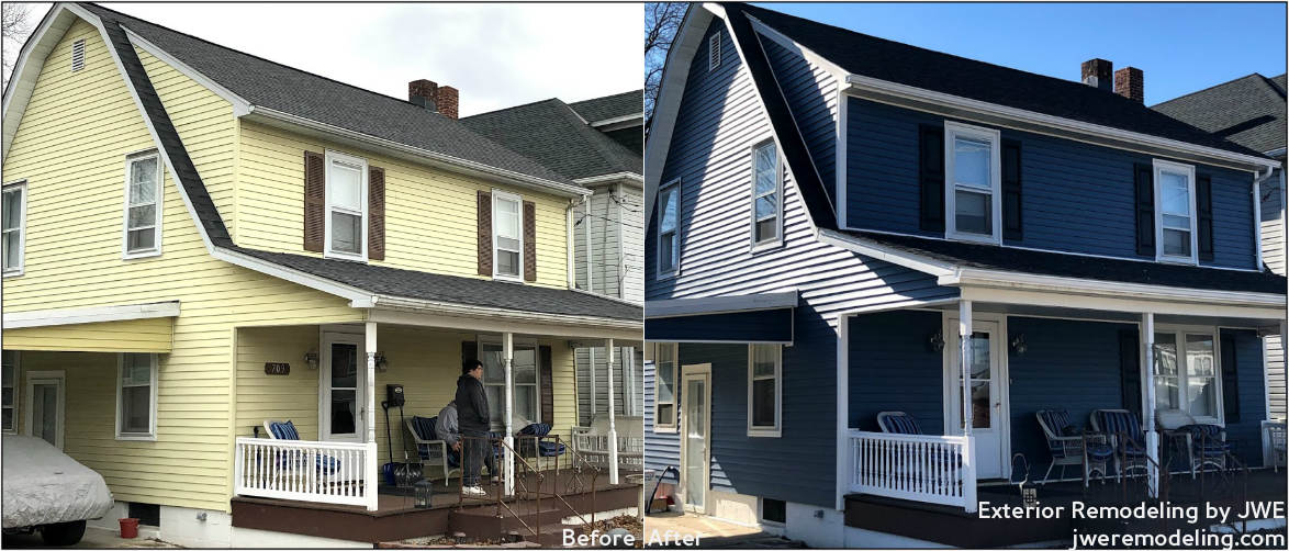 Before and After: storm damage restoration in Hanover PA with new siding and roof replacement by JWE Remodeling and Roofing Contractors