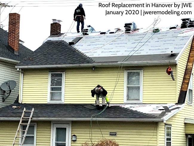 JWE Remodeling and Roofing Contractors installing a new roofing system in Hanover PA 17331 in January 2020: a roof replacement for storm damage insurance claim