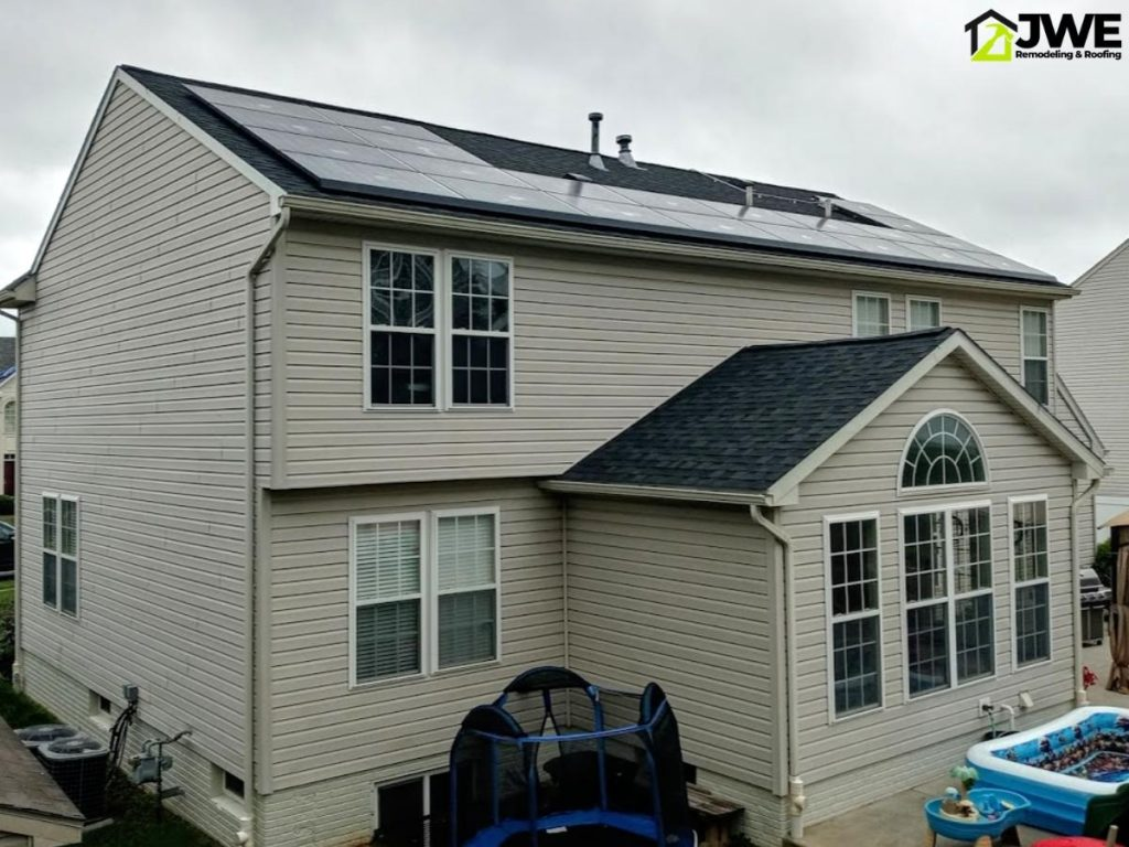 Finished roof repair and solar panel re-installation in York PA by JWE