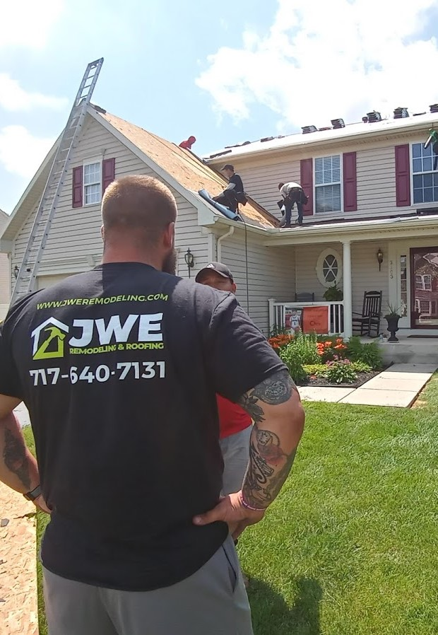 JWE Roofing Contractor East York PA 17402 owner Jeff Erb checks on the York roof replacement